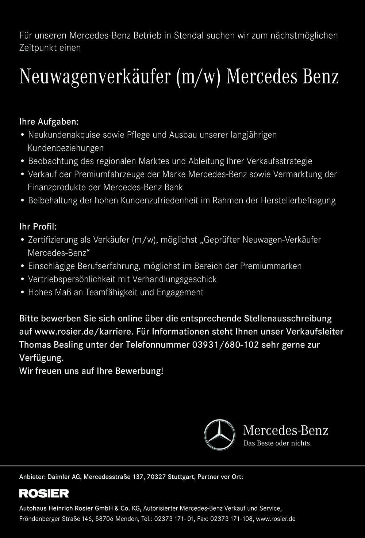 fr den mercedes benz betrieb in stendal sucht das autohaus heinrich rosier gmbh co kg zum - Daimler Online Bewerbung